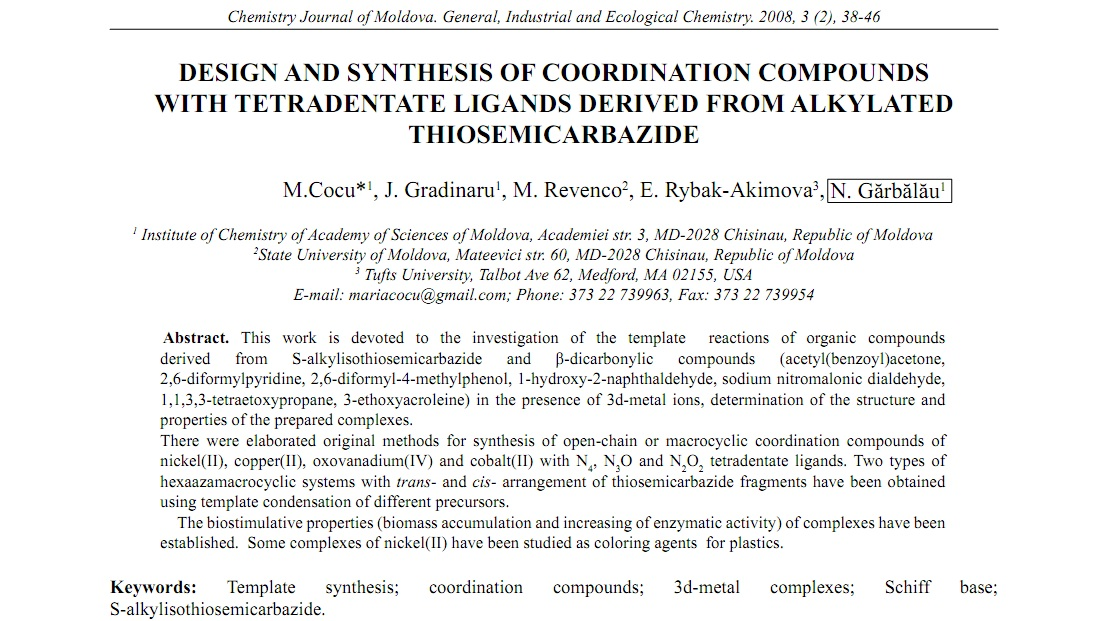 DESIGN AND SYNTHESIS OF COORDINATION COMPOUNDS WITH TETRADENTATE ...