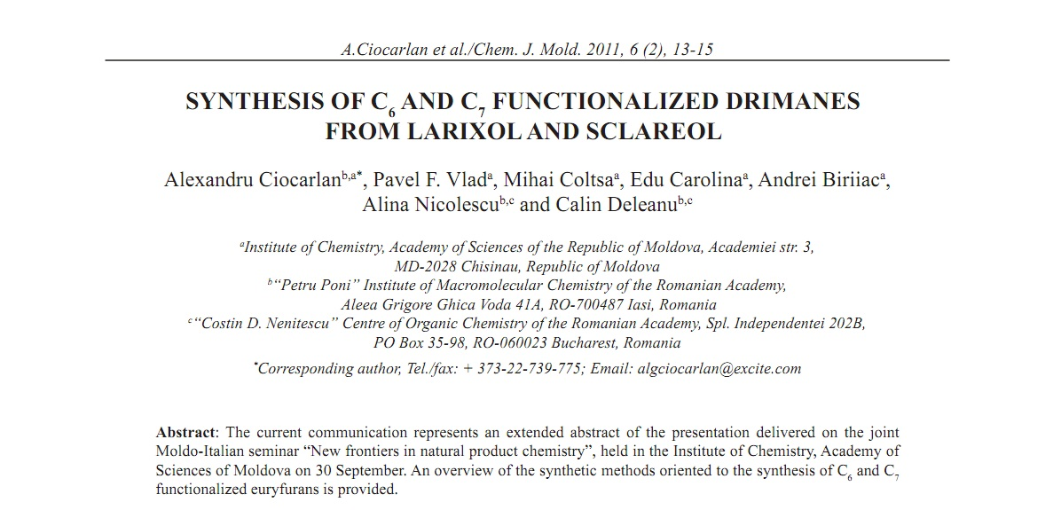 Natural product chemistry and synthesis | CJM ASM MD