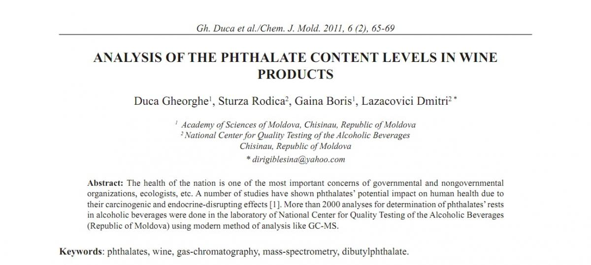 ANALYSIS OF THE PHTHALATE CONTENT LEVELS IN WINE PRODUCTS | CJM ASM MD