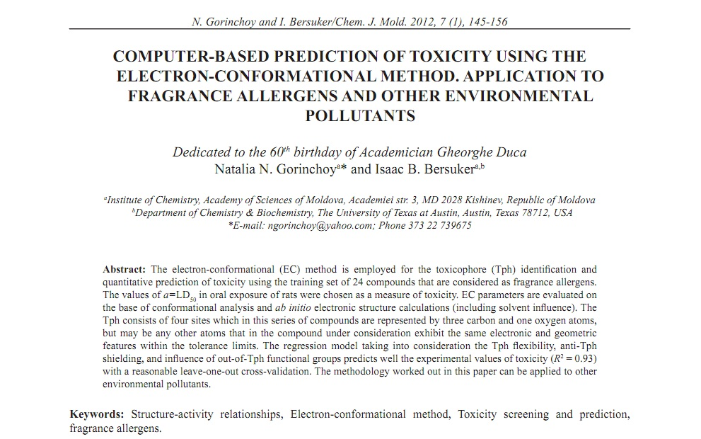 COMPUTER-BASED PREDICTION OF TOXICITY USING THE ELECTRON
