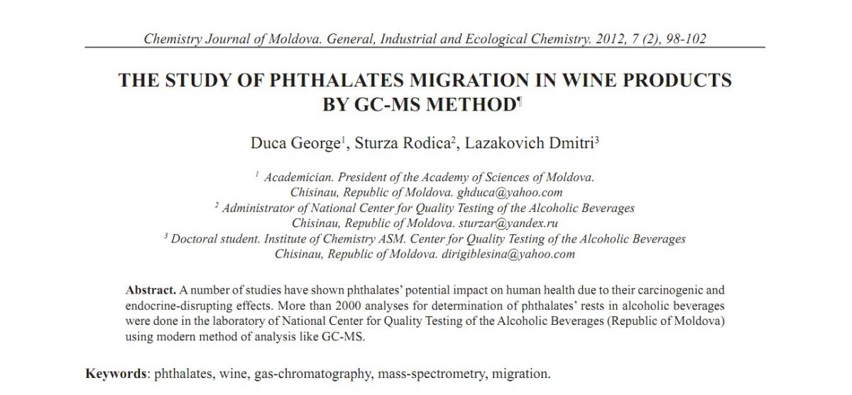 THE STUDY OF PHTHALATES MIGRATION IN WINE PRODUCTS BY GC-MS